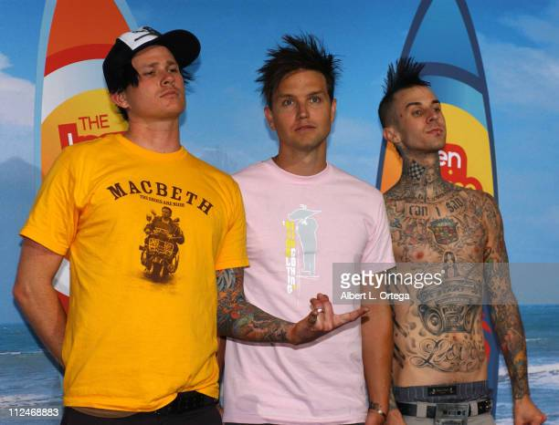 Tom DeLonge Mark Hoppus and Travis Barker of Blink182 winners of Choice Love Song for I Miss You and Choice Tour of the Year for No Doubt and Blink182
