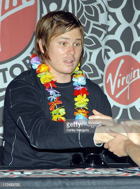 Tom DeLonge of Angels and Airwaves during Angels and Airwaves Sign Their New CD We Don't Need to Whisper May 23 2006 at Virgin Megastore Times Square...