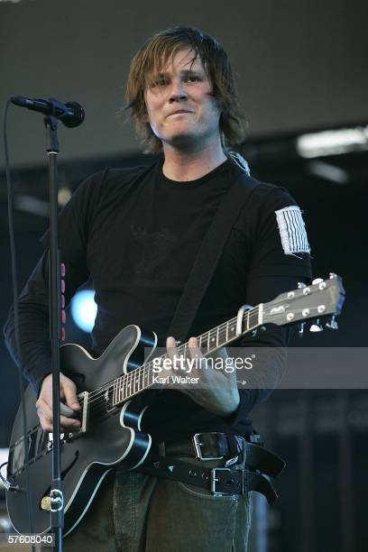Tom Delonge of Angels and Airwaves performs at the 2006 KROQ Weenie Roast Y Fiesta at the Verizon Wireless Ampitheater on May 13, 2006 in Irvine,...