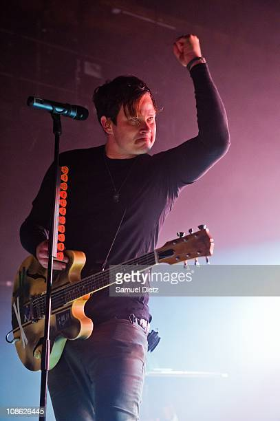 Tom DeLonge of Angels and Airwaves performs live at La Cigale on January 30 2011 in Paris France