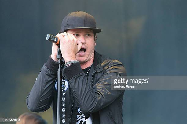 Tom DeLonge of Angels And Airwaves performs on stage during Leeds Festival at Bramham Park on August 25 2012 in Leeds United Kingdom