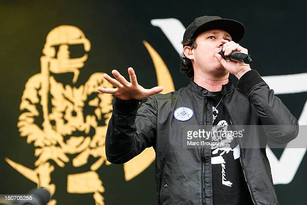 Tom DeLonge of Angels And Airwaves performs on the main stage during Day 1 of Reading Festival at Richfield Avenue on August 24 2012 in Reading...