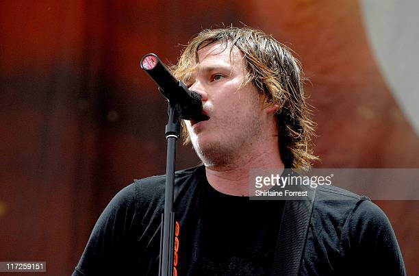 Tom Delonge of Angles Airwaves during Angels Airwaves Concert in Manchester June 18 2006 at Lancashire County Cricket Ground in Manchester Great...