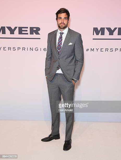 Tom Derickx poses on the red carpet during the Myer Spring 16 Launch at Hordern Pavilion on August 23 2016 in Sydney Australia