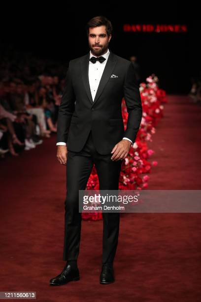 Tom Derickx walks the runway in a design by Calibre during the Gala Runway 1 show at Melbourne Fashion Festival on March 10 2020 in Melbourne...