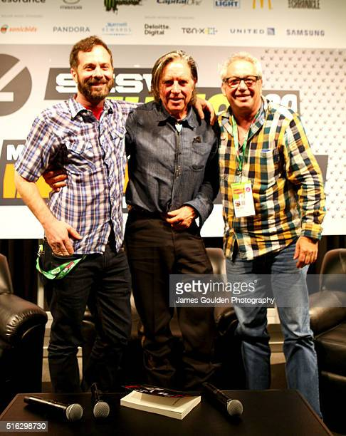 Tom DeSavia musicians John Doe and Mike Watt onstage at 'Under the Big Black Sun A Conversation with John Doe and Mike Watt' during the 2016 SXSW...