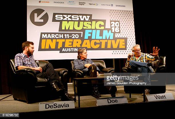 Tom DeSavia musicians John Doe and Mike Watt speak onstage at 'Under the Big Black Sun A Conversation with John Doe and Mike Watt' during the 2016...