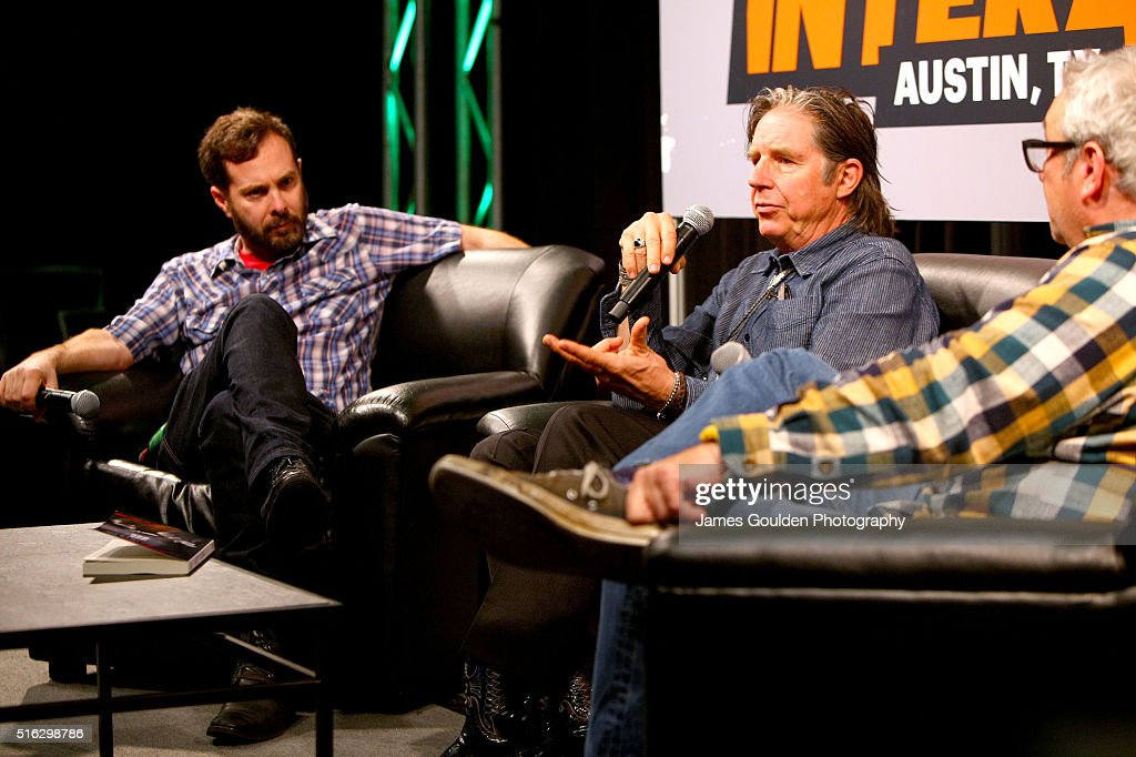 Tom DeSavia, musicians John Doe and Mike Watt speak onstage at 'Under the Big Black Sun: A Conversation with John Doe and Mike Watt' during the 2016 SXSW Music, Film + Interactive Festival at Austin Convention Center on March 17, 2016 in Austin, Texas.