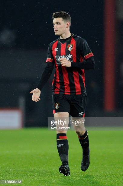 Tom Dinsmore of AFC Bournemouth runs off the ball during the FA Youth Cup Fifth Round Match between AFC Bournemouth U18 and Aston Villa U18 at...