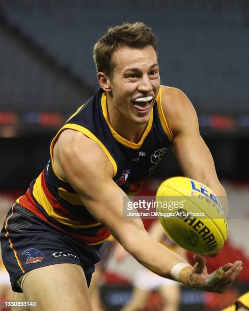 Tom Doedee of the Crows in action during the round 20 AFL match between Adelaide Crows and Hawthorn Hawks at Marvel Stadium on July 24, 2021 in...