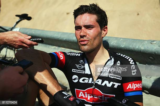 Tom Domoulin of The Netherlands and Team Giant Alpecin talks to the press after stage four of the 2016 Tour of Oman a 177km road stage from Knowledge...