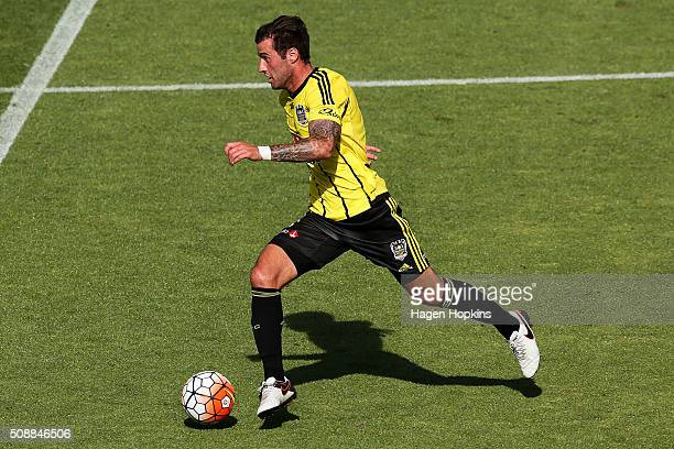 Tom Doyle of the Phoenix in action during the round 18 ALeague match between Wellington Phoenix and Perth Glory at Westpac Stadium on February 7 2016...