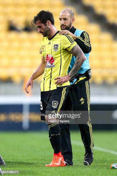 Tom Doyle of the Phoenix leaves the field injured after colliding with Manny Muscat of Melbourne City during the round 20 ALeague match between the...