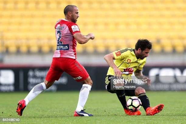 Tom Doyle of the Phoenix reacts after colliding with Manny Muscat of Melbourne City during the round 20 ALeague match between the Wellington Phoenix...