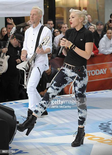 Tom Dumont and Gwen Stefani of No Doubt perform on NBC's Today at Rockefeller Center on May 1 2009 in New York City