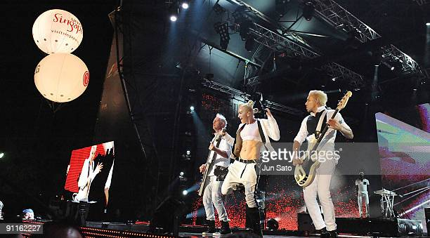 Tom Dumont, Gwen Stefani and Tony Kanal of No Doubt performs on stage on the second day of the three day F1 Rocks Singapore concert at Fort Canning...
