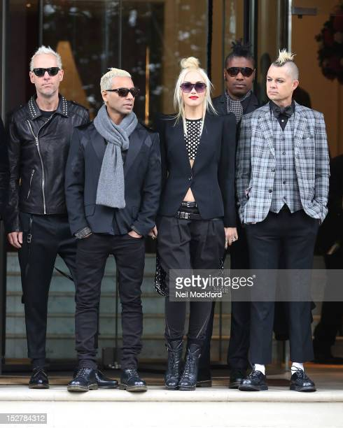 Tom Dumont Tony Ashwin Gwen Stefani and Adrian Young from 'No Doubt' seen leaving their hotel on September 26 2012 in London England