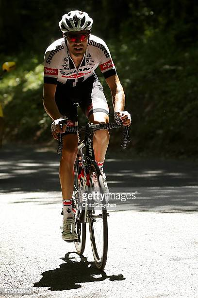 Tom Dumoulin of Netherlands riding for Team GiantAlpecin leads the breakaway during stage fifteen of the 2016 Le Tour de France a 160km stage from...