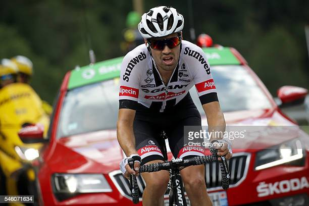 Tom Dumoulin of Netherlands riding for Team GiantAlpecin rides in the breakaway during stage nine of the 2016 Le Tour de France a 1845km stage from...