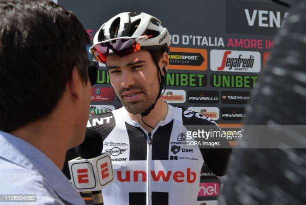 Tom Dumoulin of Sunweb Team seen talking to journalist before the start of the 19th stage from Venaria Reale to Bardonecchia during the 181km in the...