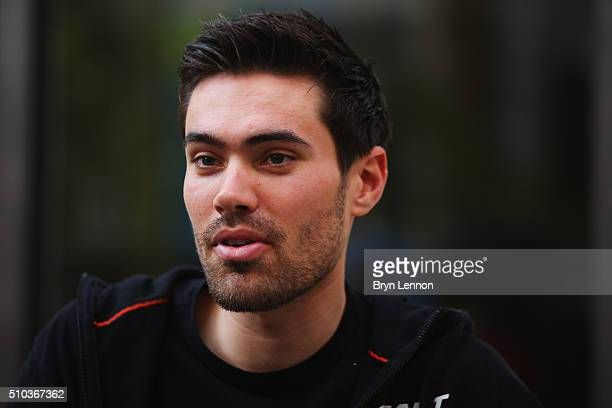 Tom Dumoulin of The Netherlands and Team Giant Alpecin chats to the media ahead of the 2016 Tour of Oman on February 15 2016 in Muscat Oman The six...