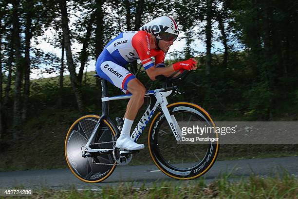 Tom Dumoulin of The Netherlands and Team GiantShimano races to second place in the individual time trial during the twentieth stage of the 2014 Tour...