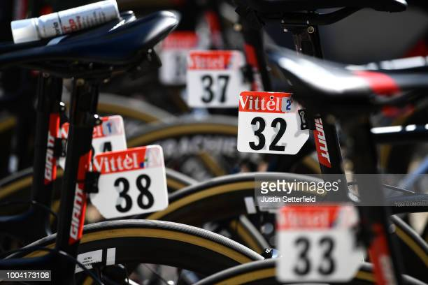 Tom Dumoulin of The Netherlands and Team Sunweb / Edward Theuns of Belgium and Team Sunweb / Giant Bike / Dorsal / Detail view / during the 105th...