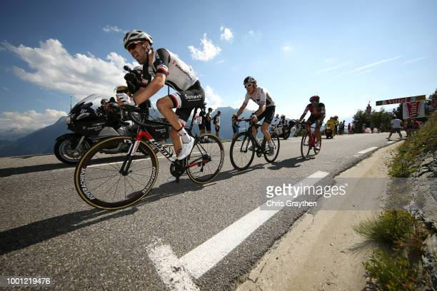 Tom Dumoulin of The Netherlands and Team Sunweb / Geraint Thomas of Great Britain and Team Sky / Damiano Caruso of Italy and BMC Racing Team / during...