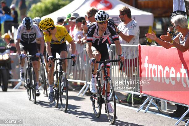 Tom Dumoulin of The Netherlands and Team Sunweb / Geraint Thomas of Great Britain and Team Sky Yellow Leader Jersey / Christopher Froome of Great...