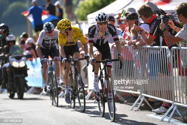 Tom Dumoulin of The Netherlands and Team Sunweb / Geraint Thomas of Great Britain and Team Sky Yellow Leader Jersey / Romain Christopher Froome of...