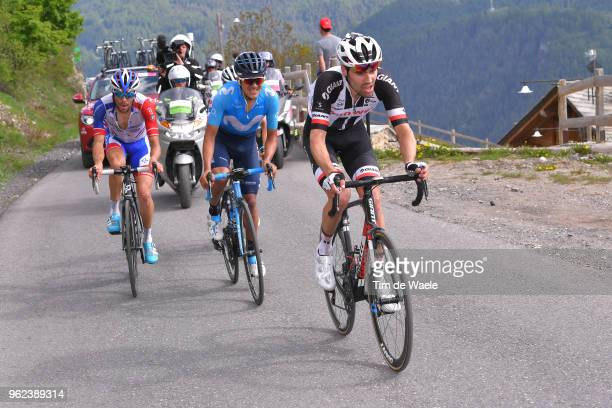 Tom Dumoulin of The Netherlands and Team Sunweb / Richard Carapaz of Ecuador and Movistar Team / Thibaut Pinot of France and Team GroupamaFDJ /...