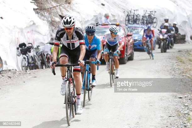 Tom Dumoulin of The Netherlands and Team Sunweb / Richard Carapaz of Ecuador and Movistar Team / Miguel Angel Lopez of Colombia and Astana Pro Team...