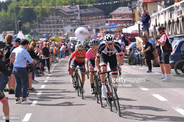 Tom Dumoulin of The Netherlands and Team Sunweb / Simon Yates of Great Britain and Team Mitchelton-Scott Pink Leader Jersey / Domenico Pozzovivo of...