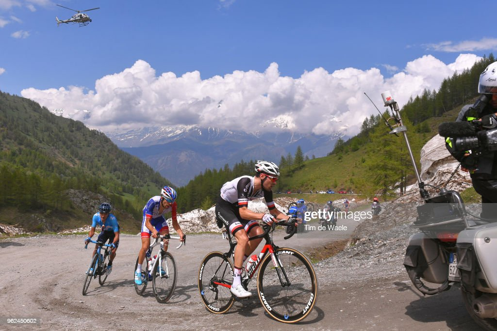 Tom Dumoulin of The Netherlands and Team Sunweb / Thibaut Pinot of France and Team Groupama-FDJ / Richard Carapaz of Ecuador and Movistar Team / Colle Delle Finestre (2178m)/ during the 101st Tour of Italy 2018, Stage 19 a 185km stage from Venaria Reale to Bardonecchia - Jafferau 1908m / Giro d'Italia / on May 25, 2018 in Turin, Italy.