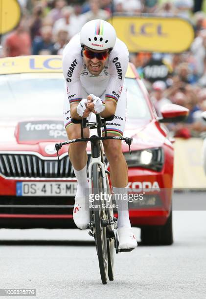 Tom Dumoulin of the Netherlands and Team Sunweb wins stage 20 of Le Tour de France 2018 an individual time trial of 31 km between SaintPeesurNivelle...