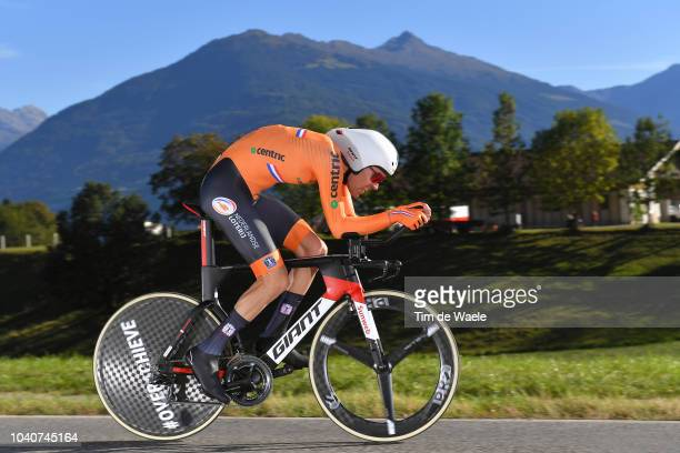 Tom Dumoulin of The Netherlands / during the Men Elite Individual Time Trial a 52,5km race from Rattenberg to Innsbruck 582m at the 91st UCI Road...