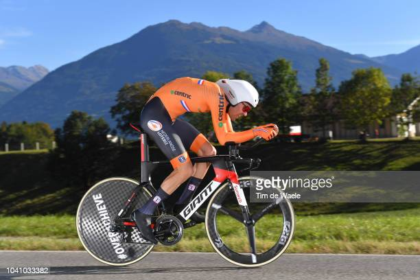 Tom Dumoulin of The Netherlands / during the Men Elite Individual Time Trial a 525km race from Rattenberg to Innsbruck 582m at the 91st UCI Road...