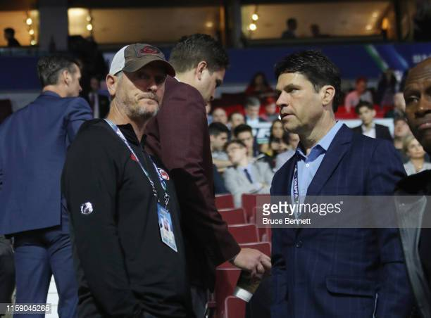 Tom Dundon chats with agent Pat Brisson at the 2019 NHL Draft at the Rogers Arena on June 22 2019 in Vancouver Canada