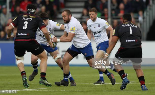 Tom Dunn of Bath charges upfield during the Aviva Premiership match between Saracens and Bath Rugby at Allianz Park on April 15 2018 in Barnet England