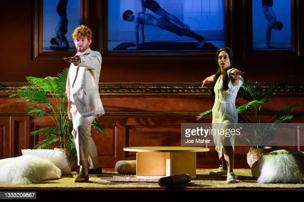 """Tom Durant-Pritchard as Prince Harry and Crystal Condie as Meghan during dress rehearsals of the play """"The Windsors: Endgame"""" at the Prince Of Wales..."""