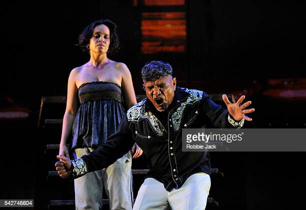 Tom E Lewis as King Lear and Jada Alberts as Goneril in Malthouse Theatre's production of The Shadow King directed by Michael Kantor at the Barbican...