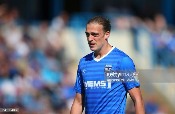 Tom Eaves of Gillingham during the Sky Bet League One match between Gillingham and Shrewsbury Town at Priestfield Stadium on September 2 2017 in...