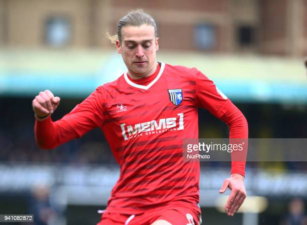 Tom Eaves of Gillingham's during League One match between Southend United against Gillingham at Roots Hall stadium Southend England on 2nd April 2018