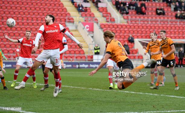Tom Eaves of Hull City scores his team's third goal during the FA Cup Third Round match between Rotherham United and Hull City at The New York...