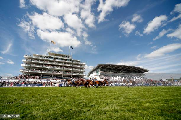 Tom Eaves riding Caspian Prince win The Investec Corporate Banking âDashâ Handicap Stakes on Investec Derby Day at Epsom Racecourse on June 3 2017 in...