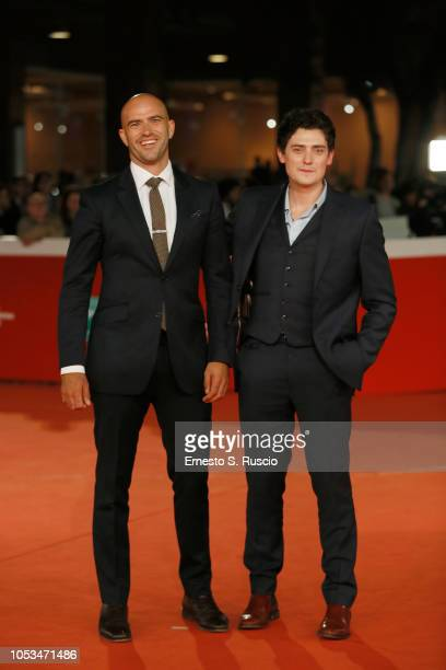 Tom Edmunds and Aneurin Barnard walk the red carpet ahead of the 'Dead In A Week Or Give Your Money Back' screening during the 13th Rome Film Fest at...