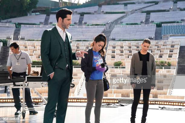 Tom Ellis Aimee Garcia and Lauren German in the Let Pinhead Sing episode of LUCIFER airingMonday March 12 on FOX Photo by FOX Image Collection via...