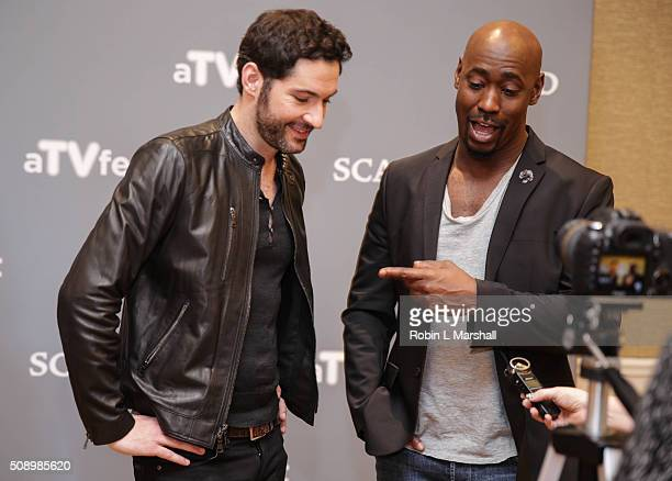 Tom Ellis and DB Woodside attend the 'Lucifer' event aTVfest on February 7 2016 in Atlanta Georgia