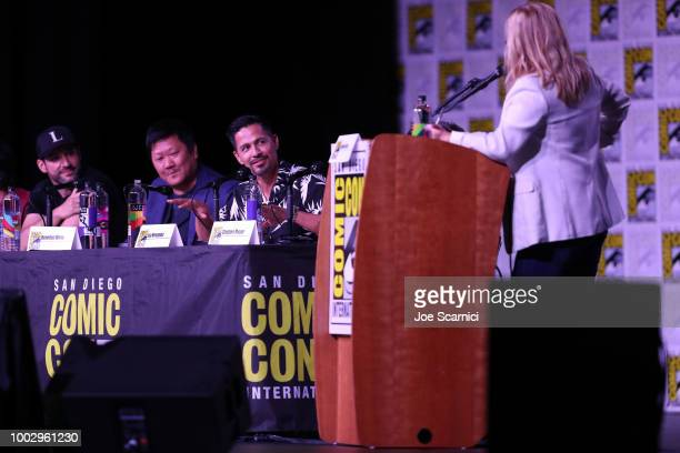 Tom Ellis Benedict Wong and Jay Hernandez attend Entertainment Weekly Brave Warriors panel during San Diego ComicCon 2018 at the San Diego Convention...