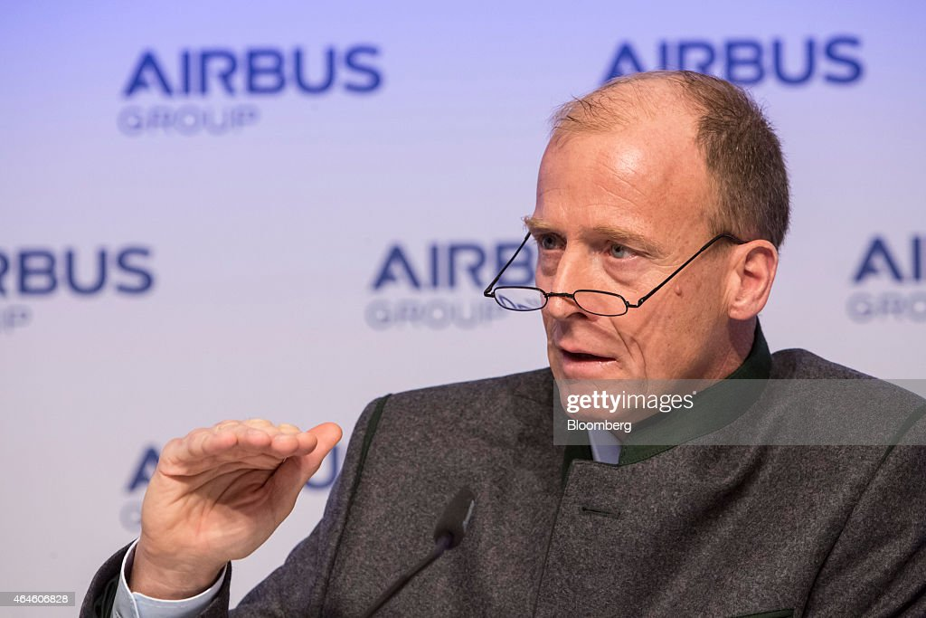 Tom Enders, chief executive officer of Airbus Group NV, gestures as he speaks during the Airbus annual news conference in Munich, Germany, on Friday. Feb. 27, 2015. Airbus plans to boost production of its workhorse A320 single-aisle aircraft to 50 a month to meet surging demand for more fuel-efficient airliners. Photographer: Martin Leissl/Bloomberg via Getty Images